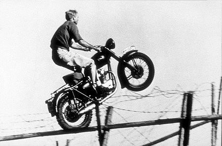 Steve McQueen's Motorcycle jump over barbed wire